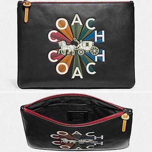 NWT Coach Large Leather Pouch Tablet Case